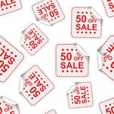 贴纸无缝的样式背景象的销售50%% B 库存照片