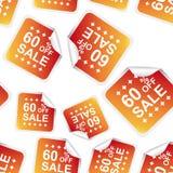 贴纸无缝的样式背景象的销售60%% B 免版税库存图片