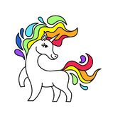 贴纸被隔绝的传染媒介独角兽和彩虹 与彩虹鬃毛和尾巴的动画片独角兽 独角兽样式 库存图片