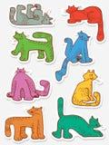 贴纸设置与乱画猫 与家养的宠物的汇集 图库摄影