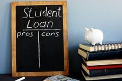 贷款学费利弊手写在黑板 免版税图库摄影