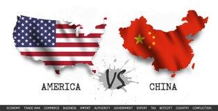 贸易战 美国对中国 挥动的旗子和地图在世界地图背景 ?? 库存例证