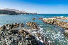 费埃特文图拉岛, Ajuy海滩在加那利群岛,西班牙 库存照片