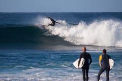 费埃特文图拉岛- 2015年 12 02 :在冬天训练sess期间的冲浪者 库存图片