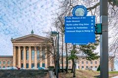 费城,宾夕法尼亚,美国- 2018年12月-大路博物馆区标志 库存照片