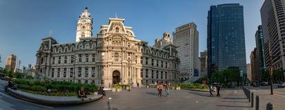 费城,美国- 2018年5月23日-市政厅在费城异常的视图全景 免版税库存照片