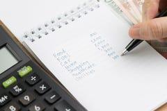 费用演算或金钱花费了发工资日概念,手藏品 免版税库存照片