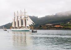 费罗尔半岛,西班牙- 2月15 : 西班牙海军胡安塞巴斯蒂安de Elcano 库存图片