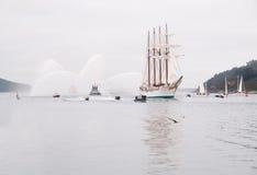 费罗尔半岛,西班牙- 2月15 : 西班牙海军胡安塞巴斯蒂安de Elcano 库存照片