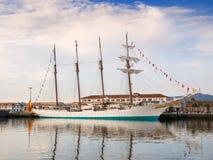 费罗尔半岛,西班牙- 2月16 : 西班牙海军胡安塞巴斯蒂安de Elcano 免版税图库摄影