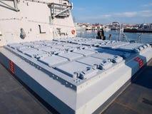 费罗尔半岛, SPAIN-FEBRUARY 16 : 大型驱逐舰F-101阿尔瓦斯de Bazan 免版税库存图片