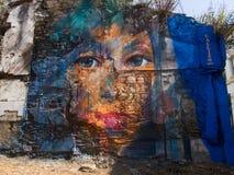费罗尔半岛-西班牙,街道艺术Canido Meninas  库存照片