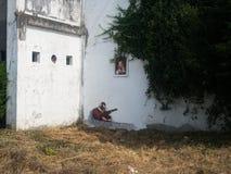 费罗尔半岛-西班牙,街道艺术Canido Meninas  免版税库存图片