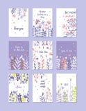 贺卡为情人节,生日,周年,邀请,手拉的传染媒介例证设置了,时髦卡片 免版税库存图片
