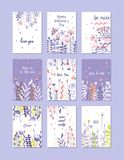 贺卡为情人节,生日,周年,邀请,手拉的传染媒介例证设置了,时髦卡片 免版税图库摄影