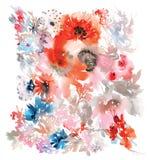 贺卡的传染媒介花卉例证 免版税库存照片