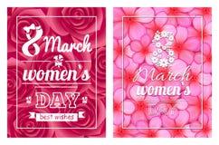 贺卡设计3月8日妇女天明信片 库存图片