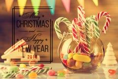 贺卡,准备打印 圣诞快乐和愉快的新的肯定 免版税库存图片