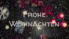 贺卡Frohe Weihnachten,在德语的圣诞快乐 图库摄影