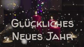 贺卡Gluckliches Neues Jahr,德语的新年快乐 图库摄影