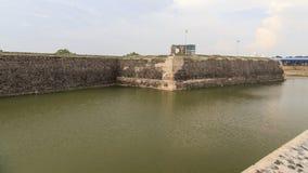 贾夫纳堡垒墙壁和护城河在斯里兰卡 库存照片