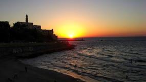 贾法角,日落耶路撒冷旧城  库存照片