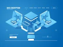 资料加密过程概念,数据工厂,自动化传送电子邮件和信息 库存例证