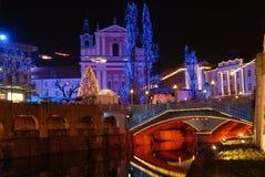 资本圣诞节城市卢布尔雅那nightscene斯洛文尼亚时间 免版税库存图片
