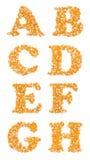 资本字符由玉米种子制成 免版税库存照片