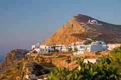 资本folegandros海岛 免版税库存图片