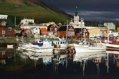 资本husavik冰岛徒步旅行队鲸鱼 免版税库存照片