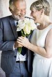 资深加上白玫瑰花花束 库存图片