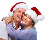 资深圣诞老人夫妇 免版税库存照片