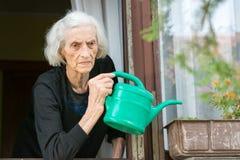 资深在房子窗口的妇女浇灌的花 库存照片