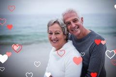 资深夫妇和华伦泰心脏3d的综合图象 图库摄影