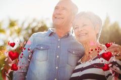 资深夫妇和华伦泰心脏3d的综合图象 库存图片