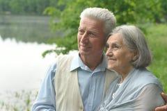 资深夫妇在夏天公园 库存照片