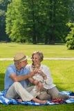 资深夫妇在浪漫野餐晴天 免版税图库摄影
