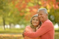 资深夫妇在秋天公园放松 免版税库存图片