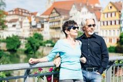 资深夫妇在Tuebingen,德国 库存照片