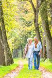 资深夫妇有休闲步行在森林 库存图片