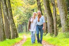 资深夫妇有休闲步行在森林 免版税库存图片