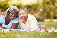 资深夫妇有野餐在庭院 免版税库存照片