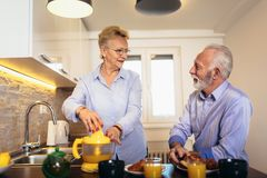 资深夫妇获得准备在早餐的乐趣健康食品在厨房 免版税库存照片
