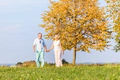 资深夫妇,妇女和人,有步行 免版税库存图片