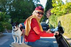 资深妇女和她的狗在滑行车 免版税库存图片