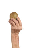 资深妇女和猕猴桃的手 免版税图库摄影