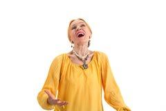 资深妇女唱歌 库存图片