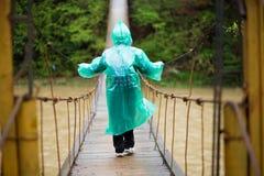 资深妇女穿过河的60岁由取决于的桥梁在森林里 免版税图库摄影
