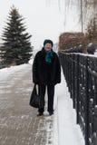资深妇女画象站立在公园的冬日 图库摄影